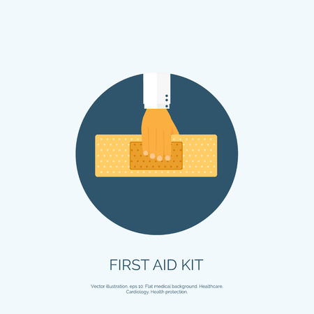 firstaid: Vector illustration. Flat background with hand and medical plaster. First aid.