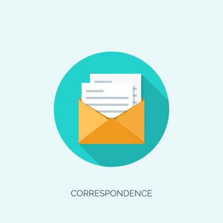 globális kommunikációs: Vector illustration. Flat envelope. Emailing and global communication. Letter. Social network.