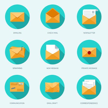 correo electronico: Ilustración del vector. Sobre plano. Envío por correo electrónico y la comunicación global. Carta. Red social.
