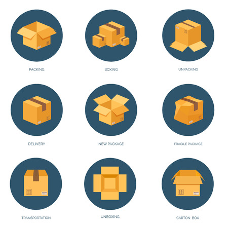 Vector illustration. Flat carton box. Transport and packaging. Post service and online delivery. Illustration