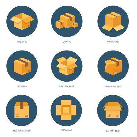 Vector illustratie. Platte kartonnen doos. Transport en verpakking. Postservice en online bezorging.