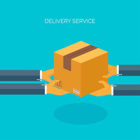 courier: Vector illustration. Flat carton box. Transport and packaging. Post service and online delivery. Illustration