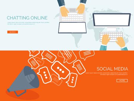 Vector illustration. Flat backgrounds set.  Social media, chatting. Global communication. Laptop, computer and loudspeaker. Emailing. Web chat and internet messages. Sms.