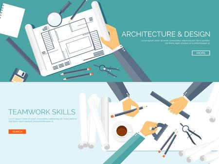 arquitecto: Ilustración del vector. Proyecto de arquitectura plana. Trabajo en equipo. Construcción y planificación. Construcción. Lápiz, mano. Arquitectura y diseño.