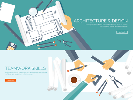 architect office: Vector illustration. Flat architectural project. Teamwork. Building and planning. Construction. Pencil, hand. Architecture and design.