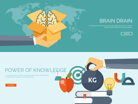 drain: Vector illustration. Flat study backgrounds set.  Brain drain, power of education. Online education. Brains, books, apple, box, hand and buld. Smart solutions.
