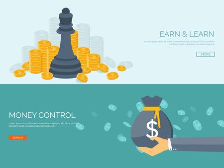 ベクトルの図。手とお金袋とフラットの背景。お金を稼ぐ。銀行預金。 財務情報。  イラスト・ベクター素材