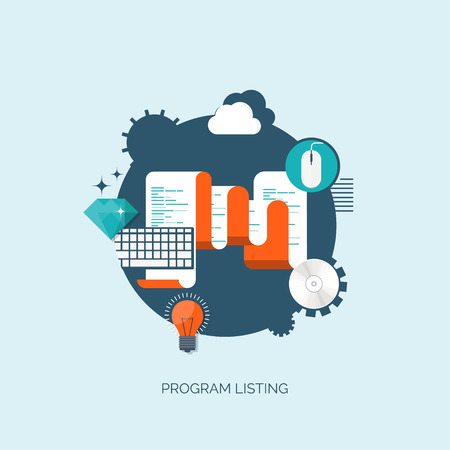 listing: Vector illustration. Program listing. Flat computing background. Programming and coding. Web development and search. Search engine optimization. Innovation and technologies. Mobile app. Illustration