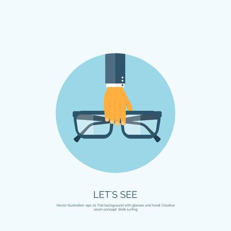 eye icon: Vector illustration. Flat background with hand and glasses. Lets see. Eye care and protection. Illustration