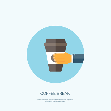 polystyrene: Vector illustration. Flat background with hand and coffee paper cup. Illustration