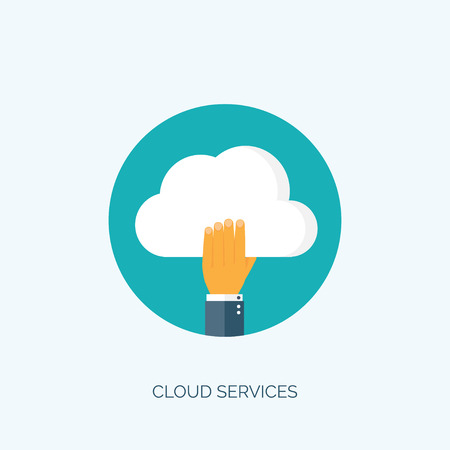 cloud: Flat cloud computing background. Data storage network technology. Multimedia content and web sites hosting.