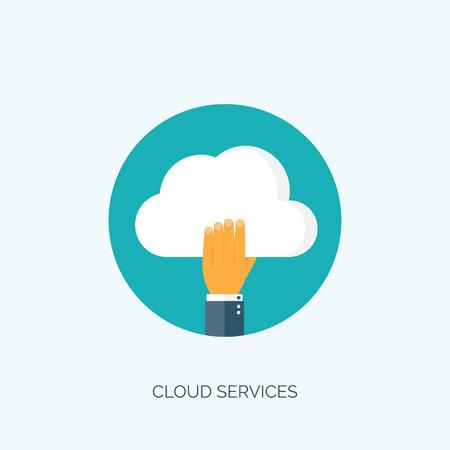 Fondo cloud computing plana. La tecnología de redes de almacenamiento de datos. Los contenidos multimedia y sitios web de alojamiento. Foto de archivo - 47394371