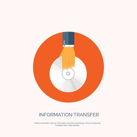 blueray: Vector illustration. Flat background with hand and compact disk. Information transfer. Web storage concept background.
