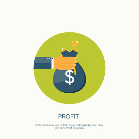 bank deposit: Vector illustration. Flat background with hand and money bag. Money making. Bank deposit.  Financials.
