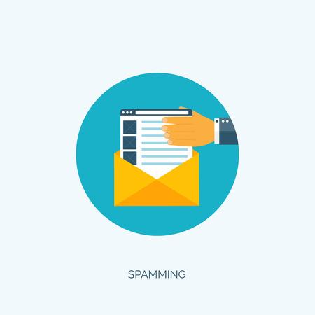 globális kommunikációs: Vector illustration. Flat spamming background. Spam. Email. Global communication. Social network. Illusztráció