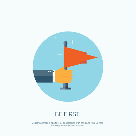 vactor: Vactor illustration with flat hand and flat. Be first. Winner, hero. Travel achievements. Illustration