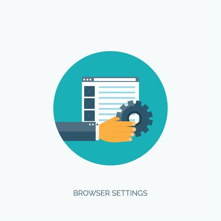 internet surfing: Vector illustration. Browser settings. Internet surfing. Illustration