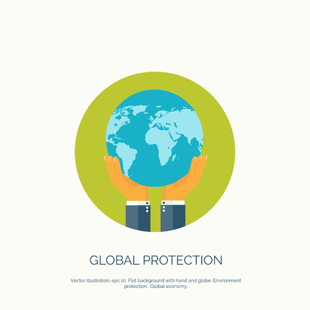 commerce communication: Vector illustration. Flat background with hand and earth globe. Global environment protection. Global commerce and communication. Illustration
