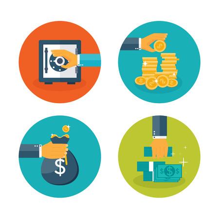 moneymaking: Vector illustration. Flat moneymaking background. Deposit. Bank. Business aims.