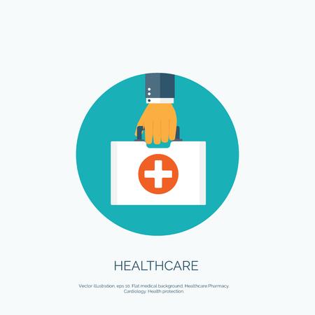 Vector illustratie. Platte achtergrond met hand en medische tas. Gezondheidszorg en EHBO-kit. Diagnostiek.