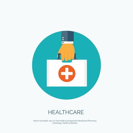 at first: Vector illustration. Flat background with hand and medical bag. Healthcare and first aid kit. Diagnostics.