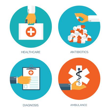 gripe: Ilustración del vector. Antecedentes médicos plana. Primeros auxilios y de diagnóstico. La investigación y la terapia médica. Cuidado de la salud global.