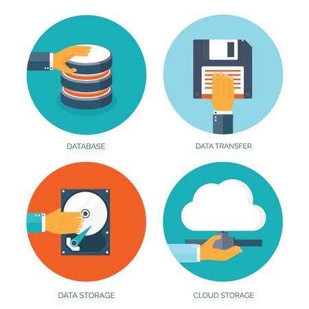 data backup: VEctor illustration. Flat data storage. Cloud computing. Database. Illustration