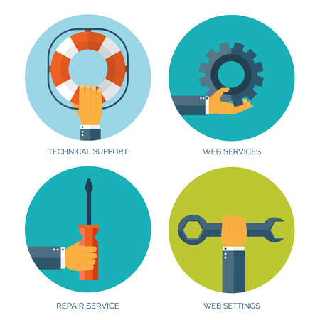 help: Vector illustration. Flat background with hand and lifebuoy and tools.  Technical support concept. Online help.