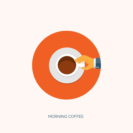 cofee cup: Vector illustration. Flat background with hand and cup of hot tea or cofee. Have a break. Illustration