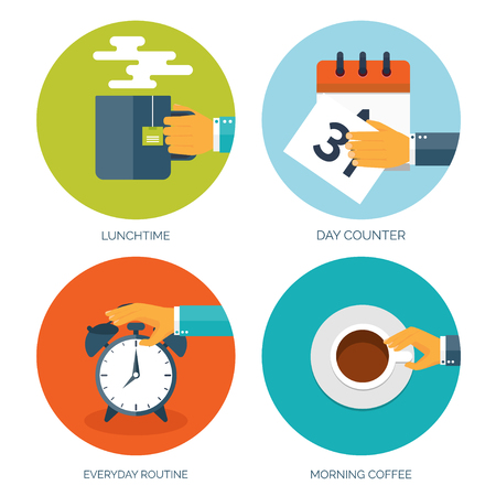 routine: Vector illustration. Flat background with hand, alarm and morning tea or coffee. Everyday routine. Working. Daily plan.