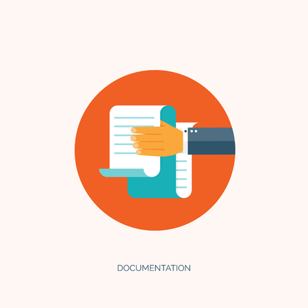globális kommunikációs: Vector illustration. Flat paper document. Emailing and global communication. Letter. Book and learning. Application, document. Illusztráció