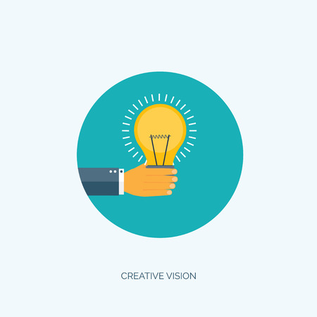 generating: Vector illustration. Flat creative background with hand and bulb. Generating new ideas. Smart solutions.