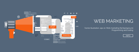 web: Vector illustration. Flat computing backgrounds set with icons and lines. Programming and coding. Web development and search. Search engine optimization. Innovation and technologies. Mobile app. Illustration