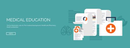 벡터 일러스트 레이 션. 플랫 의료 배경이 설정합니다. 건강 관리 및 응급 처치, 의학 연구 및 심장학. 의학 및 연구. 화학 공학 및 약학.