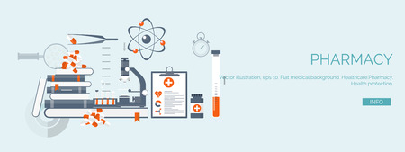 ベクトルの図。フラット医療の背景を設定します。健康管理と救急、医療研究・循環器。医学研究化学工学と薬局。