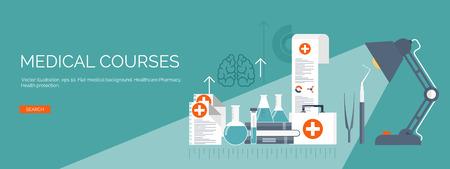 벡터 일러스트 레이 션. 플랫 의료 배경입니다. 보건 의료 및 응급 처치, 의료 연구 및 심장. 의학 및 연구. 화학 공학 및 약국.