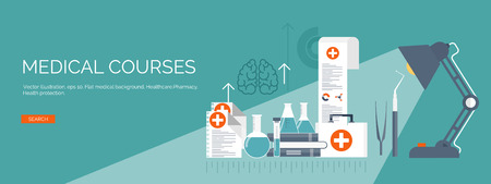 medical study: Vector illustration. Flat medical backgrounds set. Health care and first aid, medical research and cardiology. Medicine and study. Chemical engineering and pharmacy.