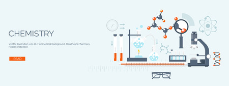 chemical engineering: Vector illustration. Flat medical backgrounds set. Health care and first aid, medical research and cardiology. Medicine and study. Chemical engineering and pharmacy.