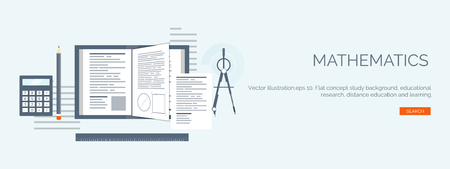 cognitive: Vector illustration. Flat study backgrounds set. Education and online courses, web tutorials, e-learning. Study and creative process. Power of knowledge. Video tutorials.