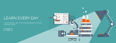 Vektorové ilustrace. Ploché studie pozadí nastaven. Vzdělání a on-line kurzy, webové konzultace, e-learning. Studium a tvůrčí proces. Síla poznání. Video tutoriály.
