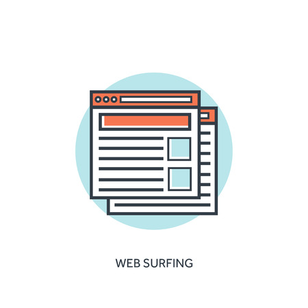 https: Flat lined web browser windows icon. Internet surfing.