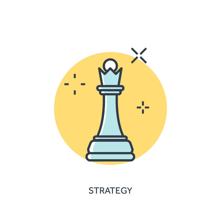 chess king: Flat chess lined figure. Strategy concept background.