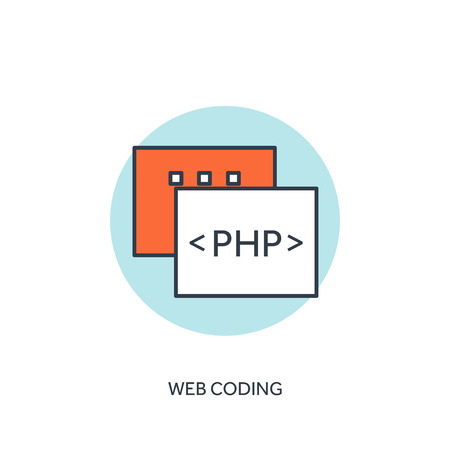 stylesheet: Flat lined document with PHP code. Coding and programming. Illustration
