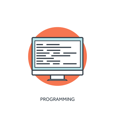 Coding and programming icon with lined computer. Illustration