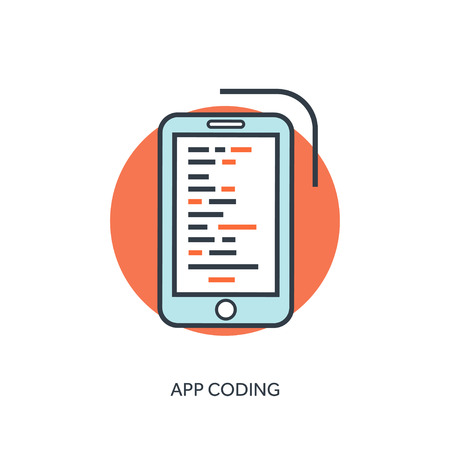 stylesheet: Flat lined document with app code. Coding and programming.