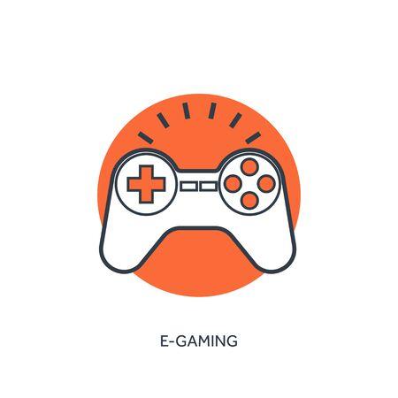 playstation: Flat lined  joystick icon. Illustration