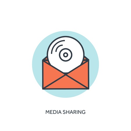 compact disk: Flat lined compact disk icon. Email icon. Media sharing