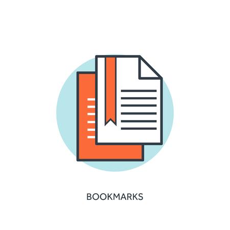 bookmarks: Flat lined web bookmarks concept background. Illustration