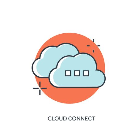 Flat lined cloud computing icon. Data storage.