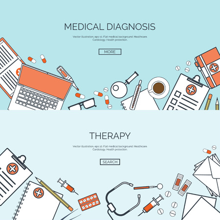 Vector illustration. Flat medical background. First aid and diagnostic. Medical research and therapy. Global healthcare.